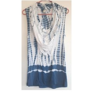 XCVI Blue and White tie dyed drape neck top